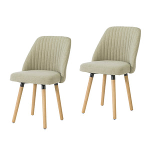 SoBuy Set of 2 Kitchen Chairs Dining Chairs Nordic Style Desk Chair Linen Back, Beige, FST84-MIx2