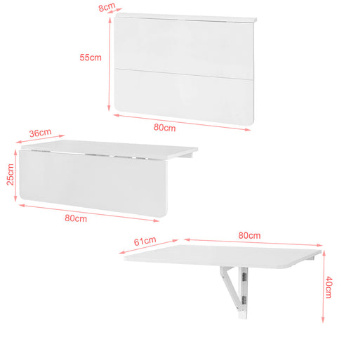 SoBuy Folding wall table 80 * 60cm 2x white folding FWT02-W