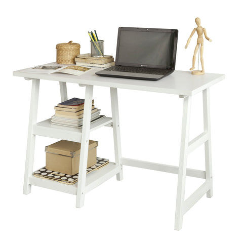 SoBuy Desk Table White Desk White With Bookcase Fwt16-W