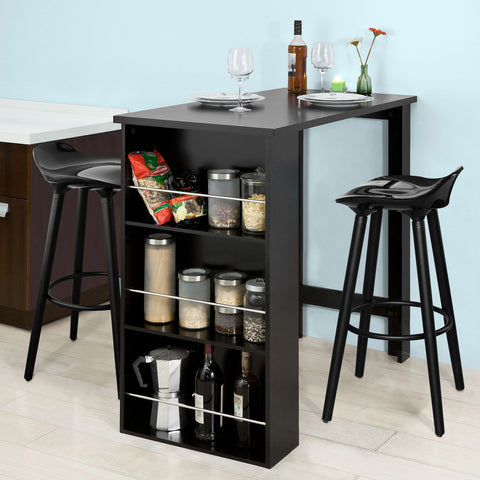 SoBuy Bar Counter High Bar Table Peninsula Μαύρη κουζίνα με ράφια Fwt17-Sch