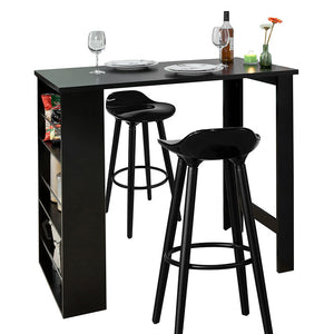 SoBuy Set 3 Pieces High Table with 2 stools Mobile Bar for wooden house L112 * P56 * H107 cm, black FWT17-SCH + 2xFST34-HE
