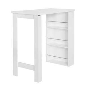 SoBuy Bar Counter High Bar Table Peninsula Kitchen White With Shelves Fwt17-W