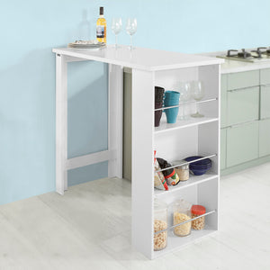 SoBuy Bar Counter High Bar Table Peninsula White Kitchen With Shelves Fwt17-W