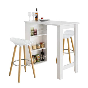 SoBuy Kitchen peninsula High Bar Table Set with 2 stools white FWT17-W + FST35-WX2
