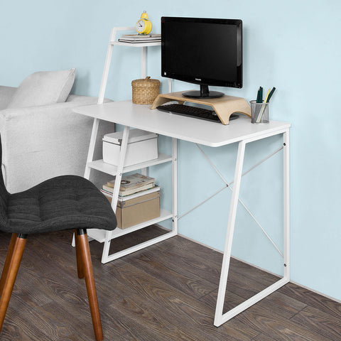 SoBuy Desk Table White Desk White With Bookcase Fwt29-W