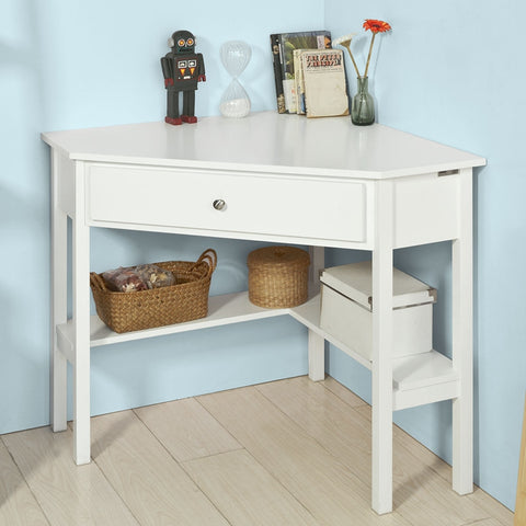 SoBuy Console Desk White Table With Library Fwt31-W