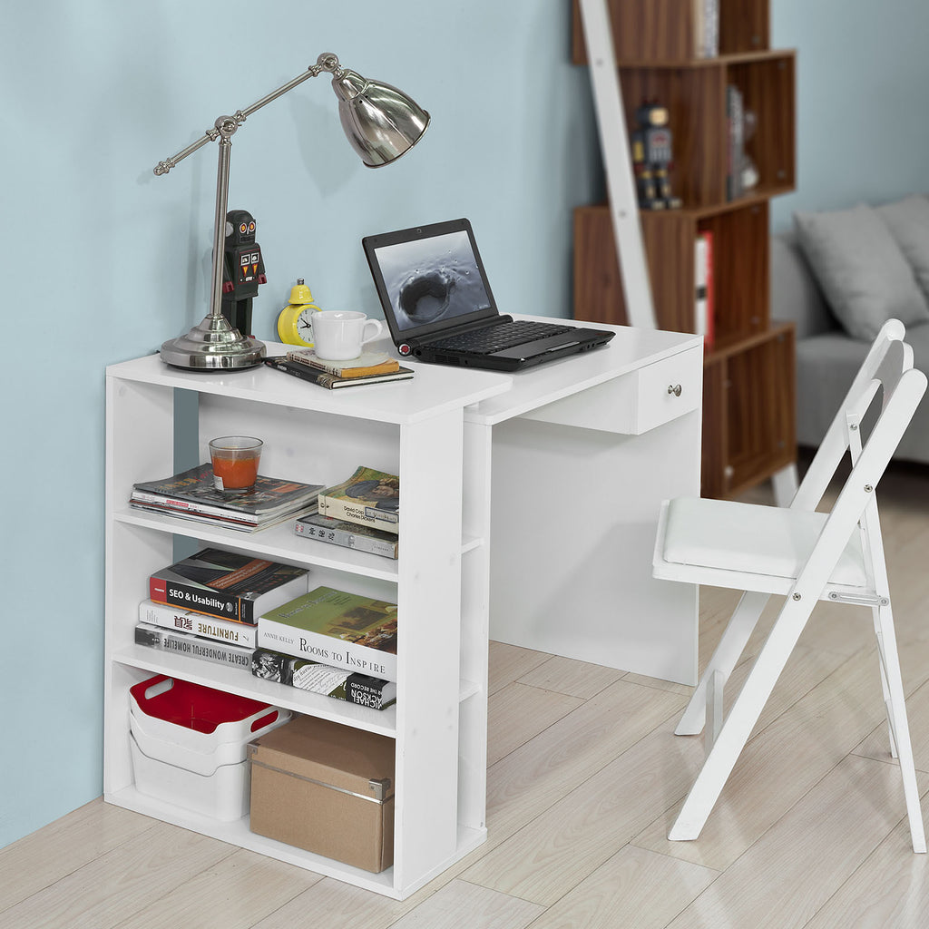 SoBuy Desk Table White Desk White With Bookcase Fwt35-W