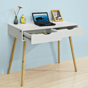 SoBuy Desk Table White White Desk With Bookcase Fwt40-Wn