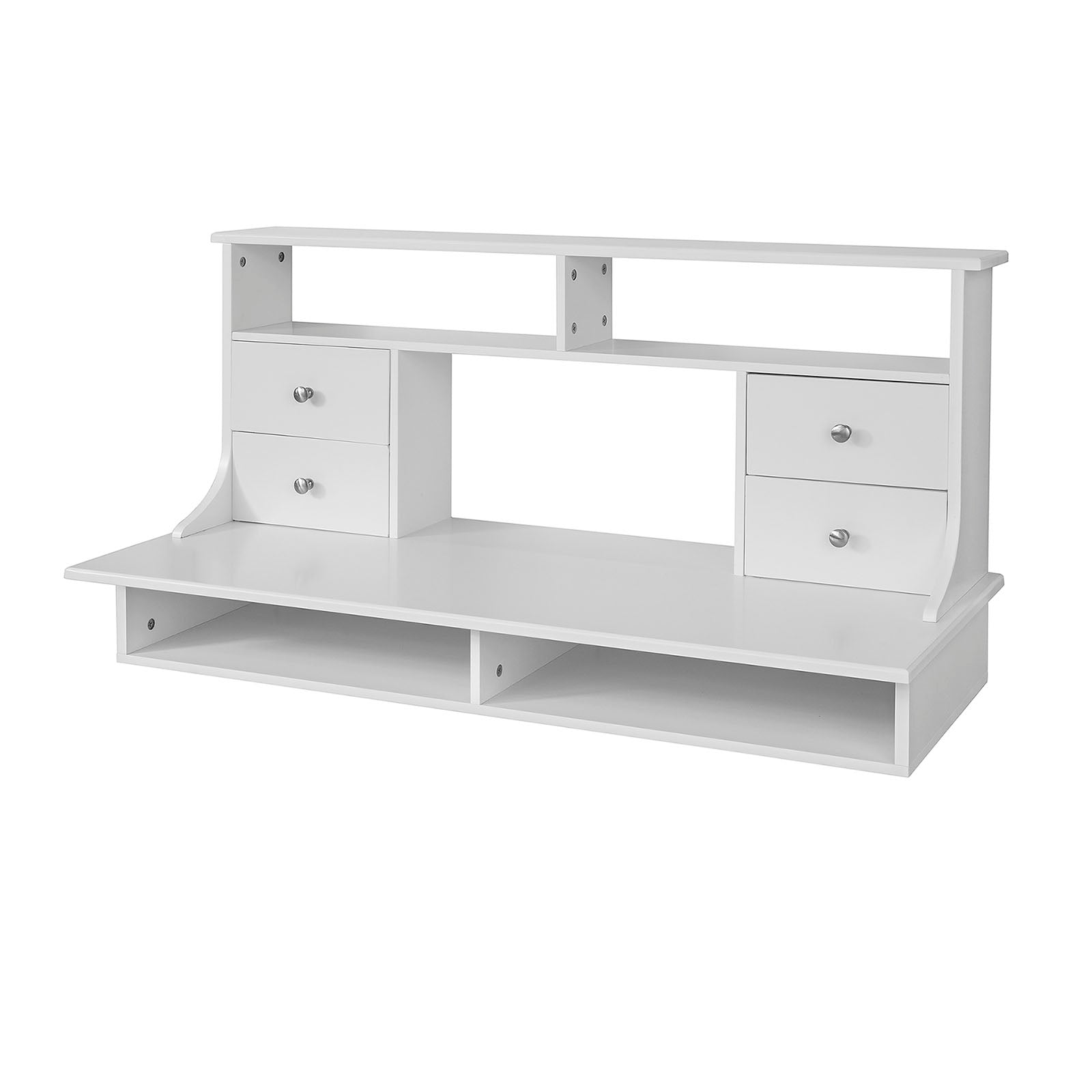 SoBuy Wall Table Desk With Drawers White Space Saving Desk With Bookcase Fwt49-W