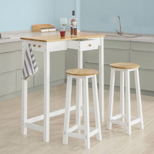 SoBuy Table And Chairs High Table White Kitchen Table With 2 Chairs Fwt50-Wn