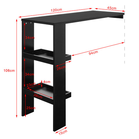 SoBuy Wall Table Bar Counter High Bar Table Black With Shelves Fwt55-Sch