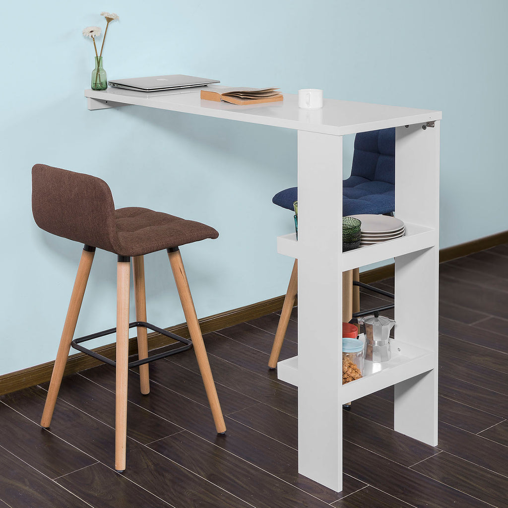 SoBuy Wall Bar Counter White High Bar Table With Shelves Fwt55-W