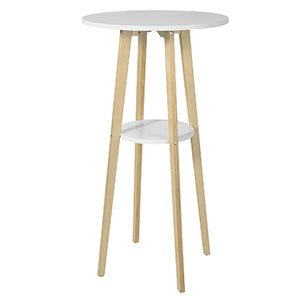 SoBuy Round Table High Bar Table with 2 Tops, in Wood, White, Diameter 60 cm, Height 112 cm FWT58-WN