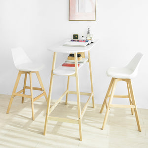 SoBuy High Bar Table with 2 Tops, Kitchen Peninsula in Wood, White, Length 118 cm depth 50 cm Height 111 cm FWT59-W