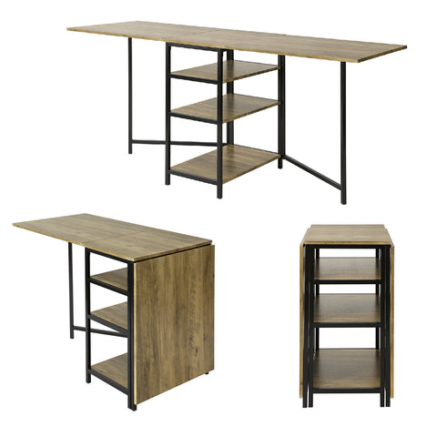 SoBuy Folding Table with 3 Shelves for Dining Room Coffee Table Desk Space Saving Wood, FWT62-N