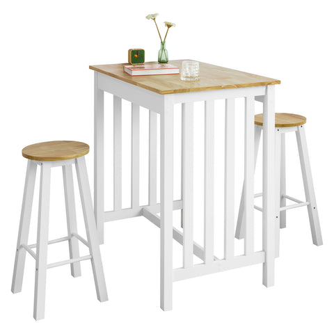SoBuy Set 3 Pieces High Table with 2 stools Bar cabinet for home in Hevea Solid Wood and MDF W90 * D60 * H101 cm, White FWT65-WN