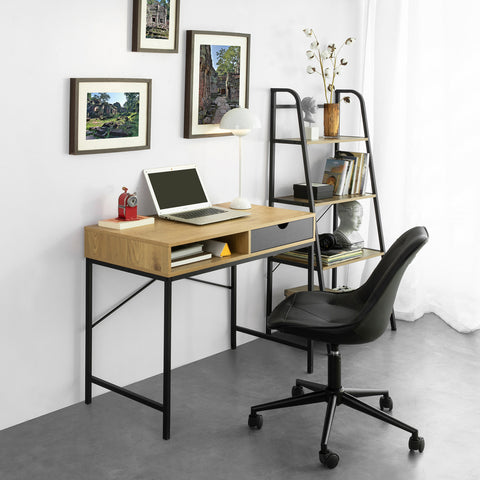 SoBuy Computer Desk with 1 Drawer and 1 Open Compartment Work Table Office Table Industrial Style L95xP48XH66 cm, FWT81-N
