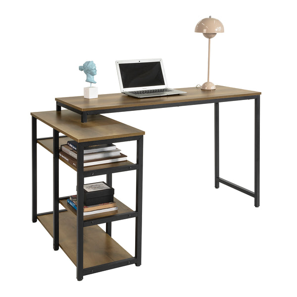 SoBuy Desk with 4 Shelves Computer Table Industrial Style Office Table 135x88x70 cm, FWT82-N