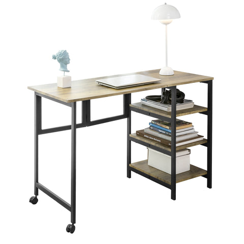 SoBuy Desk with 3 Shelves Computer table with wheels Folding table 110x50x75 cm, FWT85-F