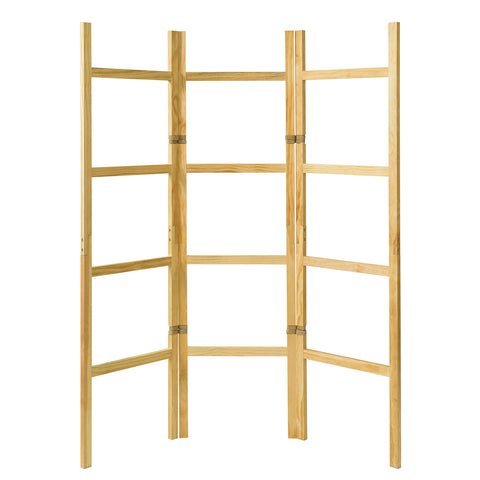 SoBuy Screen Divider Free Standing Towel Rack Solid Pine Wood and Hemp Rope 3 Panels KLS06-N