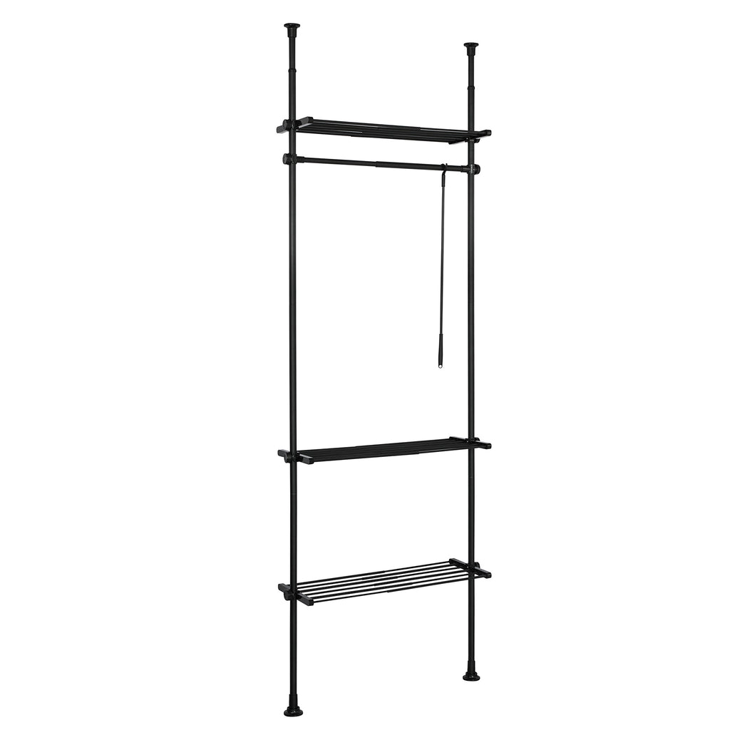 SoBuy Modular Walk-in Closet Adjustable Wardrobe Black Coat Hanger KLS07-SCH