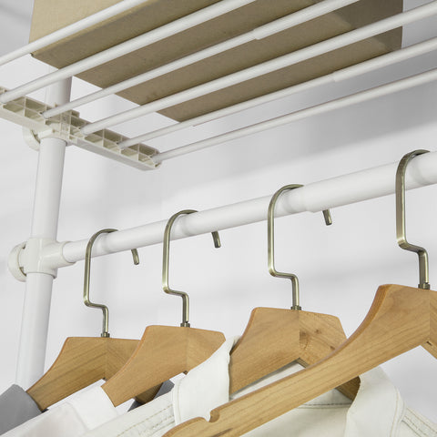 SoBuy Walk-in Closet Modular Wardrobe Adjustable Coat Rack White KLS07-W