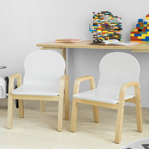 SoBuy Set 2 chairs Children Stool Children Seat Height Adjustable in solid wood Class E1 KMB24-WNX2