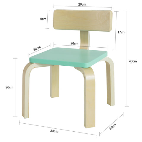 SoBuy Children's chair Solid birch wood children's chair, Seat size: W26 * D26 * H26 cm Blue KMB29-HB