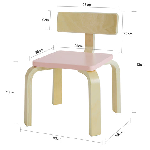 SoBuy Baby Seat Solid Birch Wood Παιδική καρέκλα, Διαστάσεις καθίσματος: L26 * W26 * H26 cm Pink KMB29-P