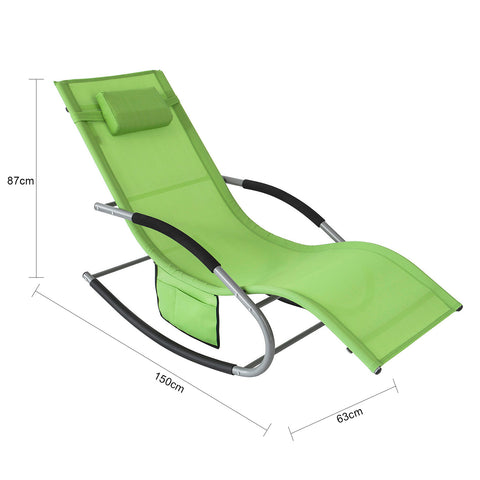 SoBuy Garden lounger Rocking chair with headrest and green pocket OGS28-GR