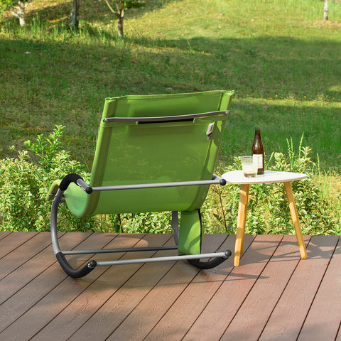 SoBuy 2 X Garden Loungers Rocking Armchairs with Headrest and Pocket Green OGS28-GRX2