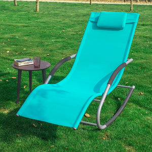 SoBuy Garden deckchair Rocking armchair with headrest and pocket Blue OGS28-HB