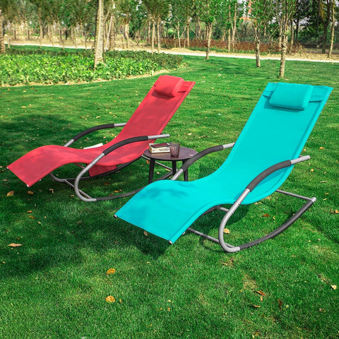 SoBuy 2 X Garden deckchair Rocking armchairs with headrest and pocket Blue OGS28-HBX2