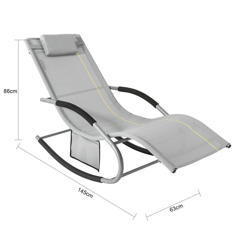 SoBuy 2 X Garden Loungers Rocking Armchairs with Headrest and Pocket Gray OGS28-HGX2