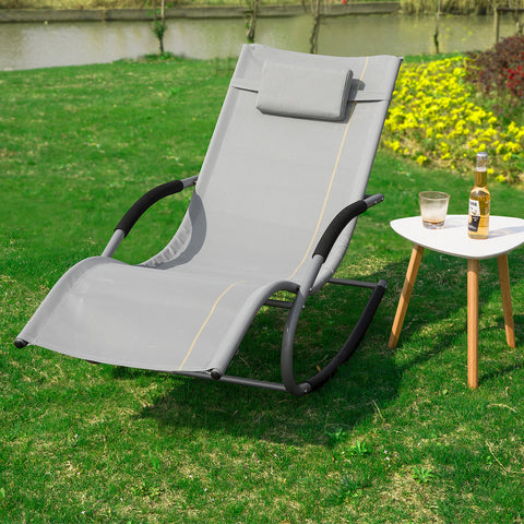 SoBuy Garden deckchair Rocking armchair with headrest and pocket Gray OGS28-HG