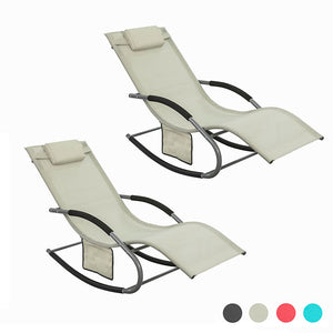 SoBuy 2 X Garden deckchair Rocking armchairs with headrest and pocket Beige OGS28-MIX2