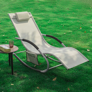 SoBuy Garden deckchair Rocking armchair with headrest and pocket Beige OGS28-MI