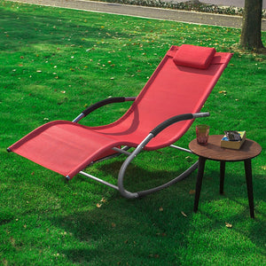 SoBuy Garden deckchair Rocking armchair with headrest and pocket OGS28-R red