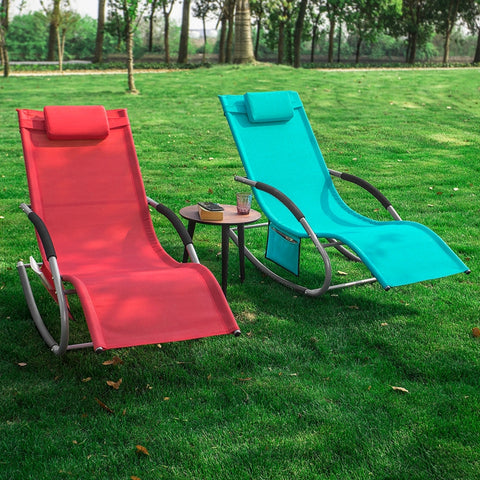 SoBuy 2 X Garden deckchair Rocking armchairs with headrest and pocket Red OGS28-RX2