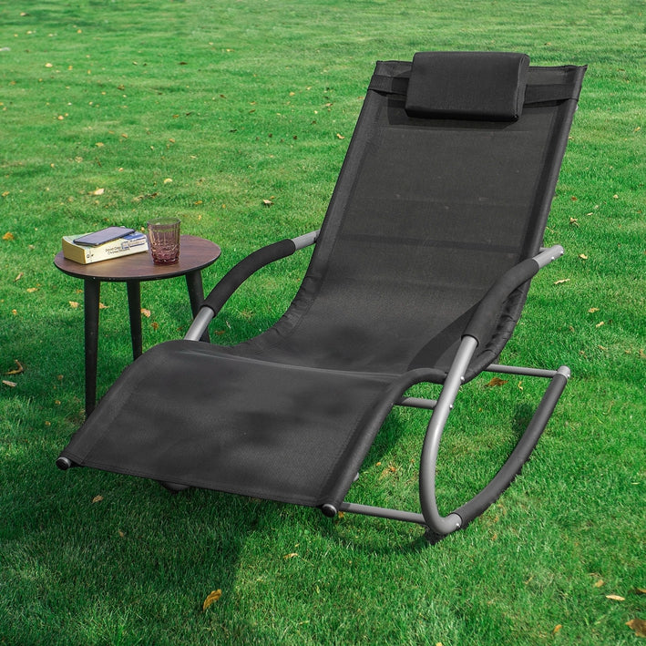 SoBuy Garden deckchair Rocking armchair with headrest and pocket Black OGS28-SCH
