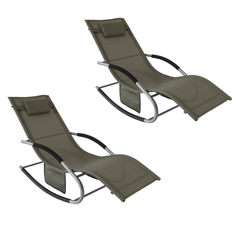 SoBuy 2 X Garden Loungers Rocking Armchairs with Headrest and Pocket Brown OGS28-BRX2