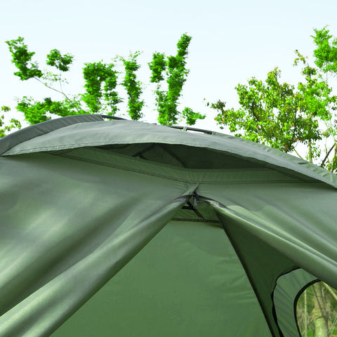 SoBuy Folding camp bed Camping tents with mattress and 2 green sleeping bags 145 * 191CM, Max capacity 300 kg, OGS32-L-GR