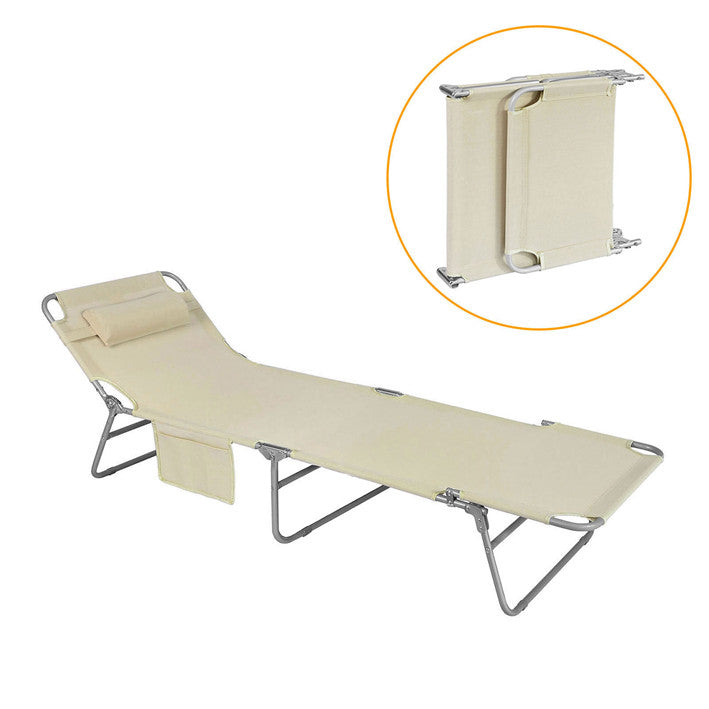 SoBuy Folding lounger Beige OGS35-MI folding deckchair
