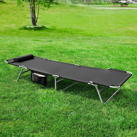 SoBuy 2 x Folding Beds Black folding deckchair OGS35-SCHX2
