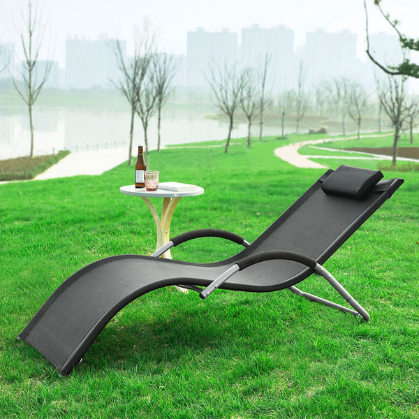 SoBuy Sun Lounger Garden Chair in Iron Powder Coated and Teslin Fabric, Black, OGS38-SCH