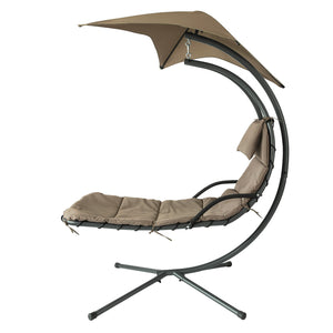 SoBuy Garden and Home Rocking Chair Metal Sun Lounger with Leaf Roof and Cushion Included OGS39-BR