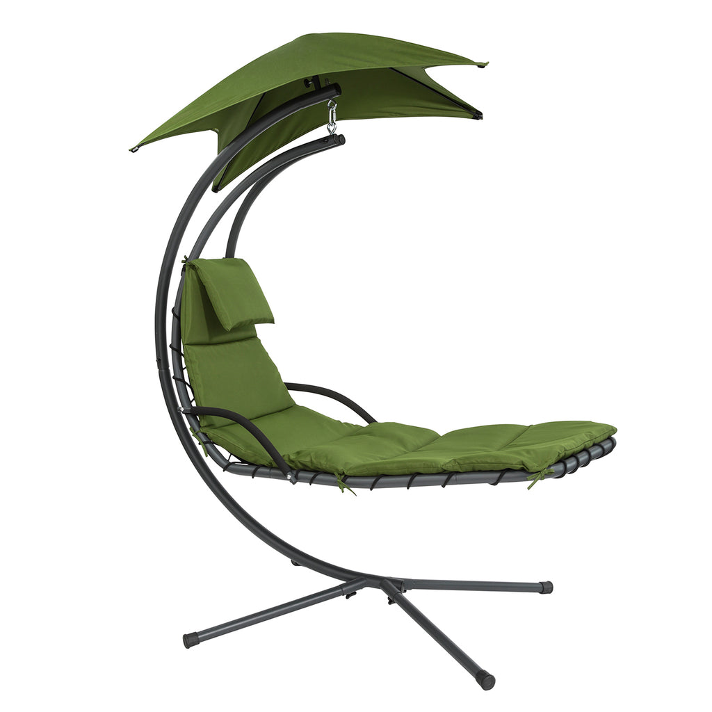 SoBuy Garden and Home Rocking Chair Metal Sun Lounger with Leaf Canopy and Cushion Included, OGS39-GR