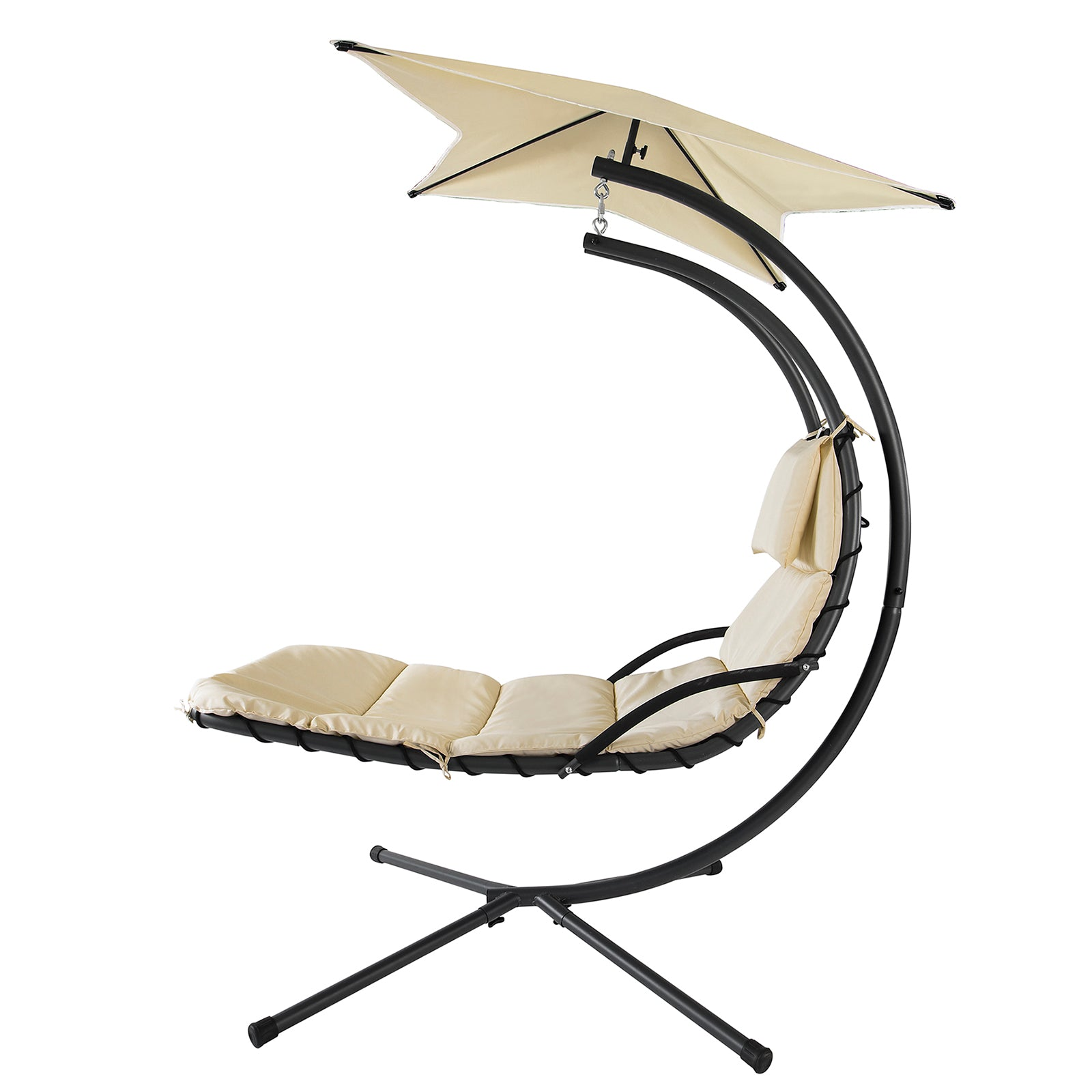SoBuy Garden and Home Rocking Chair Metal Sun Lounger with Leaf Roof and Cushion Included OGS39-MI
