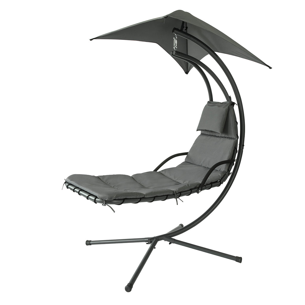 SoBuy Garden and Home Rocking Chair Metal Sun Lounger with Leaf Canopy and Cushion Included OGS39-SG