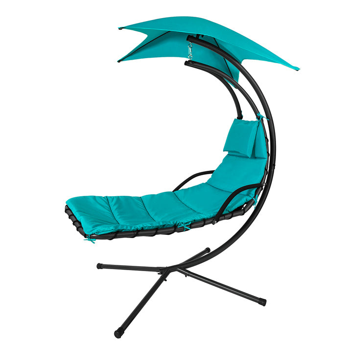 SoBuy Garden and Home Rocking Chair Metal Sun Lounger with Leaf Canopy and Cushion Included OGS39-TB